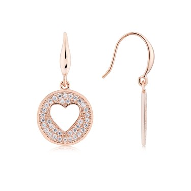 August Woods Rose Gold Heart Coin Earrings  - Click to view larger image