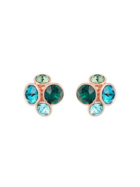 Ted Baker Rose Gold Lynda Green Jewel Cluster Earring   - Click to view larger image