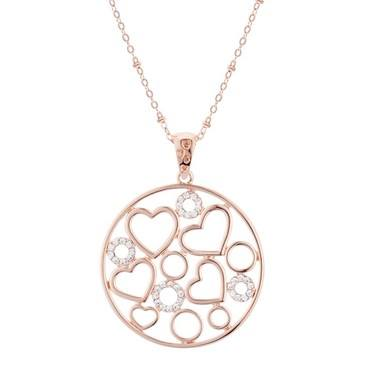 August Woods Rose Gold Circle Heart Necklace  - Click to view larger image