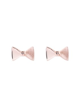 Rose Gold Tayal Tux Bow Earrings