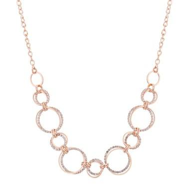 August Woods Rose Gold Crystal Loops Necklace  - Click to view larger image
