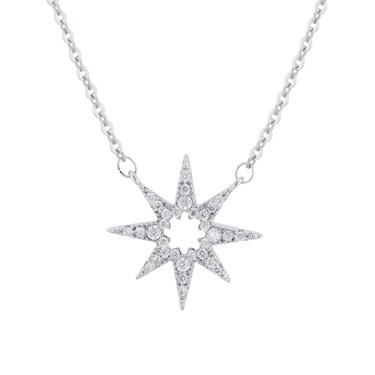August Woods Silver Bright Star Crystal Necklace  - Click to view larger image