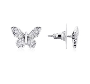 August Woods Silver Butterfly Sparkle Earrings  - Click to view larger image