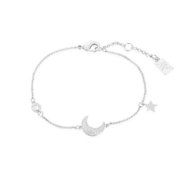 August Woods Silver Crescent Moon Crystal Bracelet  - Click to view larger image
