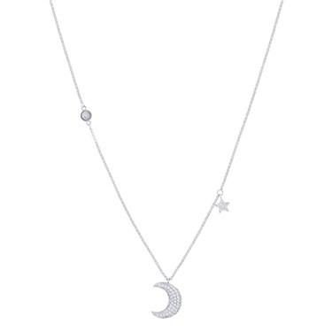 August Woods Silver Crescent Moon Crystal Necklace  - Click to view larger image