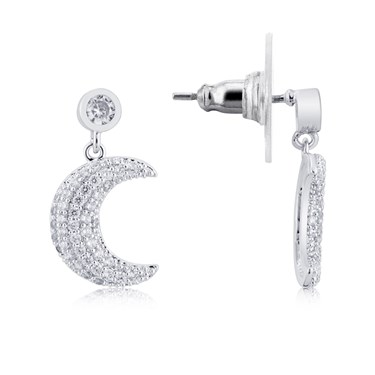 August Woods Silver Crescent Moon Drop Earrings  - Click to view larger image