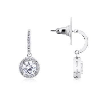 August Woods Silver Crystal Drop Ball Earrings  - Click to view larger image
