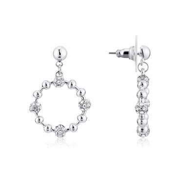 August Woods Silver Detailed Hoop Earrings  - Click to view larger image