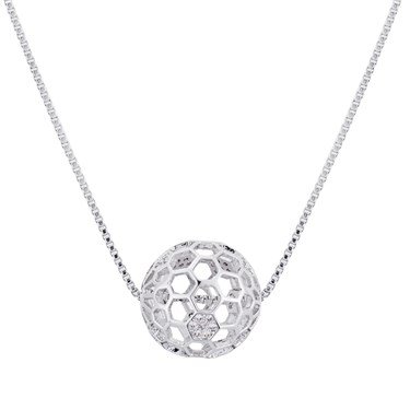 August Woods Silver Disco Ball Etched Necklace  - Click to view larger image