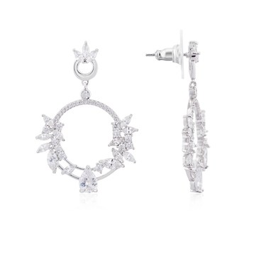 August Woods Silver Floral Hoop Earrings  - Click to view larger image