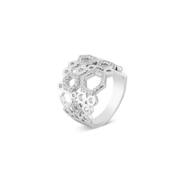 August Woods Silver Mini Hexagon Crystal Ring  - Click to view larger image