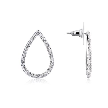 August Woods Silver Teardrop Pave Crystal Earrings  - Click to view larger image