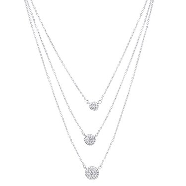 August Woods Silver Triple Layer Crystal Necklace  - Click to view larger image