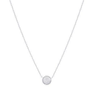 August Woods Silver Dimples Crystal Circle Necklace  - Click to view larger image
