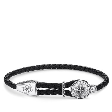 Thomas Sabo Black Leather Compass Bracelet  - Click to view larger image