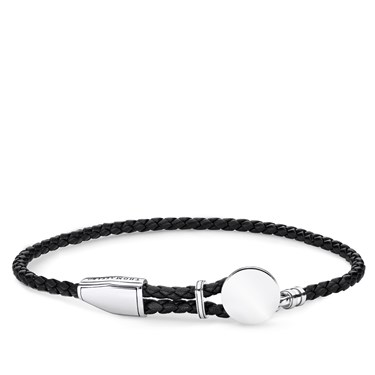 Thomas Sabo Black Leather Engravable Disc Bracelet  - Click to view larger image