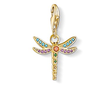 Thomas Sabo Gold Colourful Dragonfly Charm  - Click to view larger image