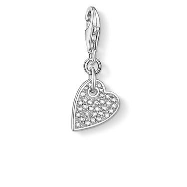Thomas Sabo Pave Heart Charm  - Click to view larger image