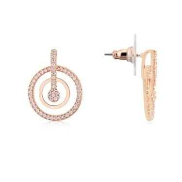 August Woods Rose Gold Crystal Circle Earrings  - Click to view larger image