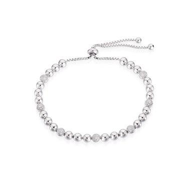 August Woods Silver Beaded Pull Bracelet  - Click to view larger image