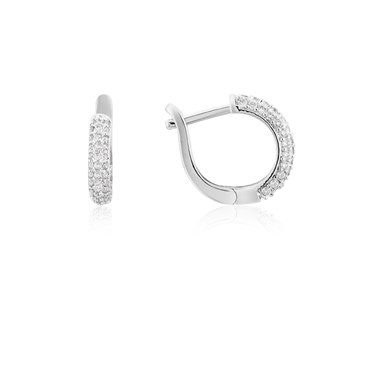 August Woods Silver Sparkle Crystal Loop Earring  - Click to view larger image