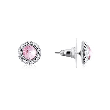 August Woods Silver + Pink Halo Earrings  - Click to view larger image