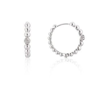 August Woods Silver Studded Hoop Earrings  - Click to view larger image