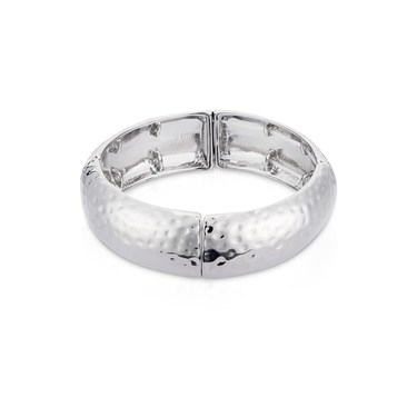 August Woods Silver Oversized Elastic Chiselled Bangle  - Click to view larger image