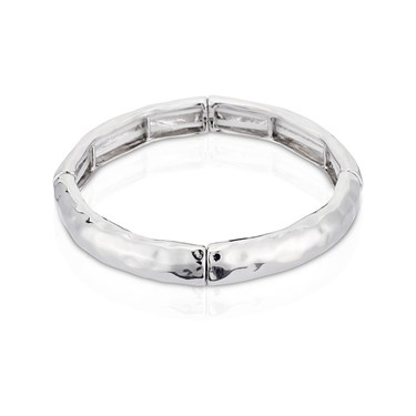 August Woods Silver Elastic Chiselled Bangle  - Click to view larger image