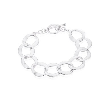 August Woods Silver T-Bar Circlet Bracelet  - Click to view larger image