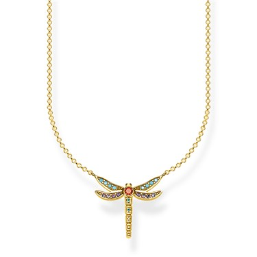 Thomas Sabo Gold Colourful Dragonfly Necklace  - Click to view larger image