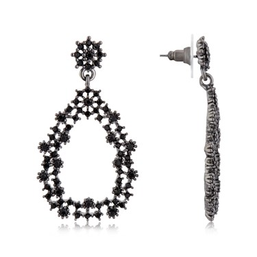 August Woods Gun Metal Chandelier Drop Earrings  - Click to view larger image