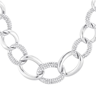 August Woods Silver Crystal Chain Necklace  - Click to view larger image
