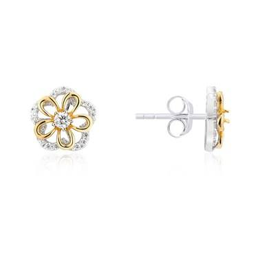 Argento Gold & Silver Crystal Flower Earrings  - Click to view larger image