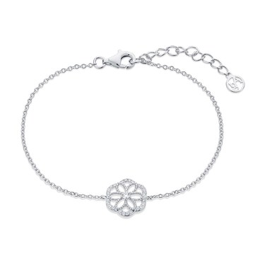 Argento Silver Crystal Flower Bracelet  - Click to view larger image
