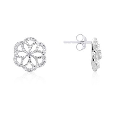 Argento Silver Crystal Flower Earrings  - Click to view larger image