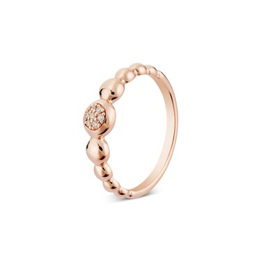 Argento Rose Gold Circle Pebble Ring  - Click to view larger image
