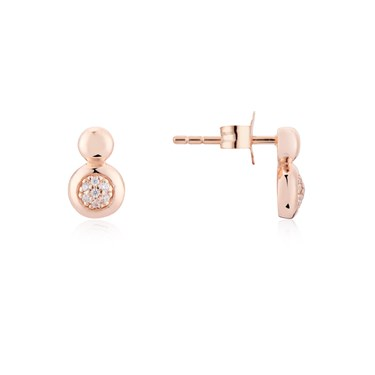 Argento Rose Gold Circle Pebble Earrings  - Click to view larger image