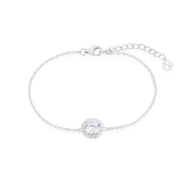Argento Silver Crystal Halo Bracelet  - Click to view larger image