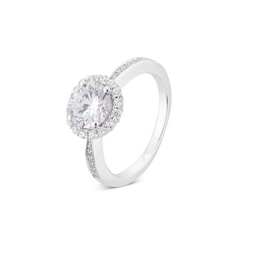 Argento Silver Oval Crystal Halo Ring  - Click to view larger image