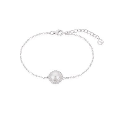 Argento Silver Crystal Pearl Halo Bracelet  - Click to view larger image