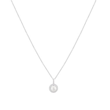 Argento Silver Crystal Pearl Halo Necklace  - Click to view larger image