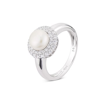 Argento Silver Crystal Pearl Halo Ring  - Click to view larger image