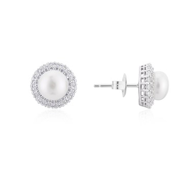 Argento Silver Crystal Pearl Halo Earrings  - Click to view larger image