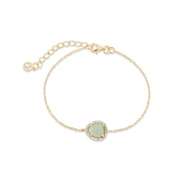 Argento Gold + Green Radiance Oval Bracelet  - Click to view larger image