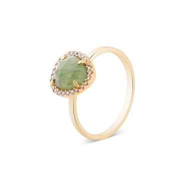 Argento Gold + Green Radiance Oval Ring  - Click to view larger image