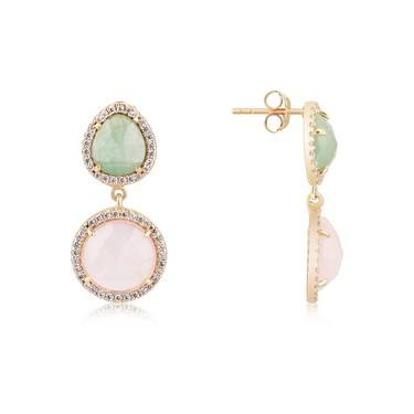 Argento Gold Green + Pink Radiance Drop Earrings  - Click to view larger image