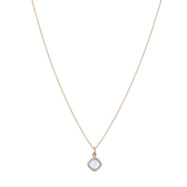 Argento Rose Gold + Blue Radiance Square Necklace  - Click to view larger image