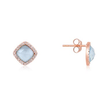 Argento Rose Gold + Blue Radiance Square Earrings  - Click to view larger image