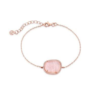 Argento Rose Gold  Radiance Pink Square Bracelet  - Click to view larger image